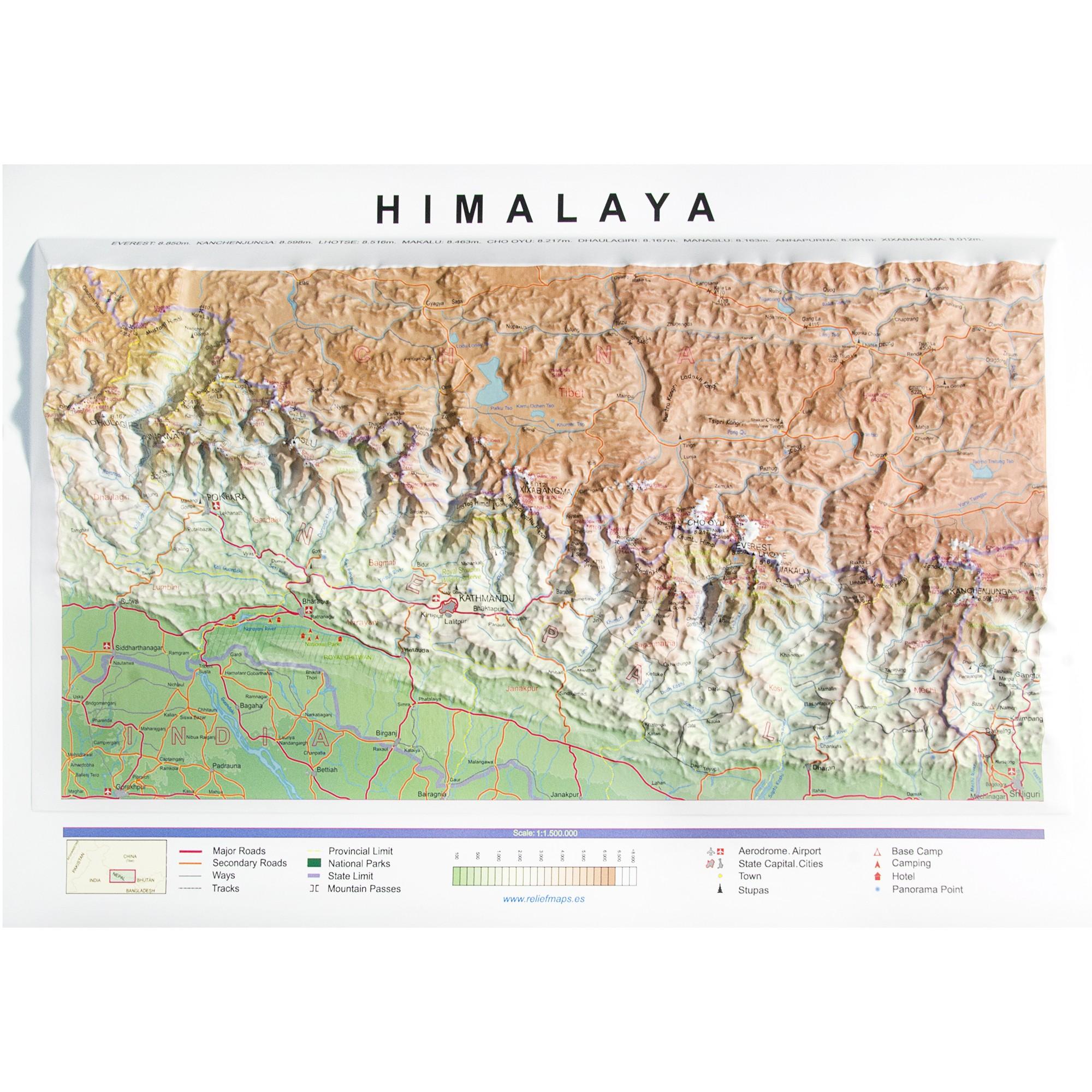 Cordillera Del Himalaya Mapa.Mapa En Relieve Cordillera Del Himalaya
