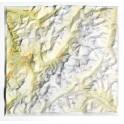 Mapa en relieve del Mont Blanc (Francia, Italia)