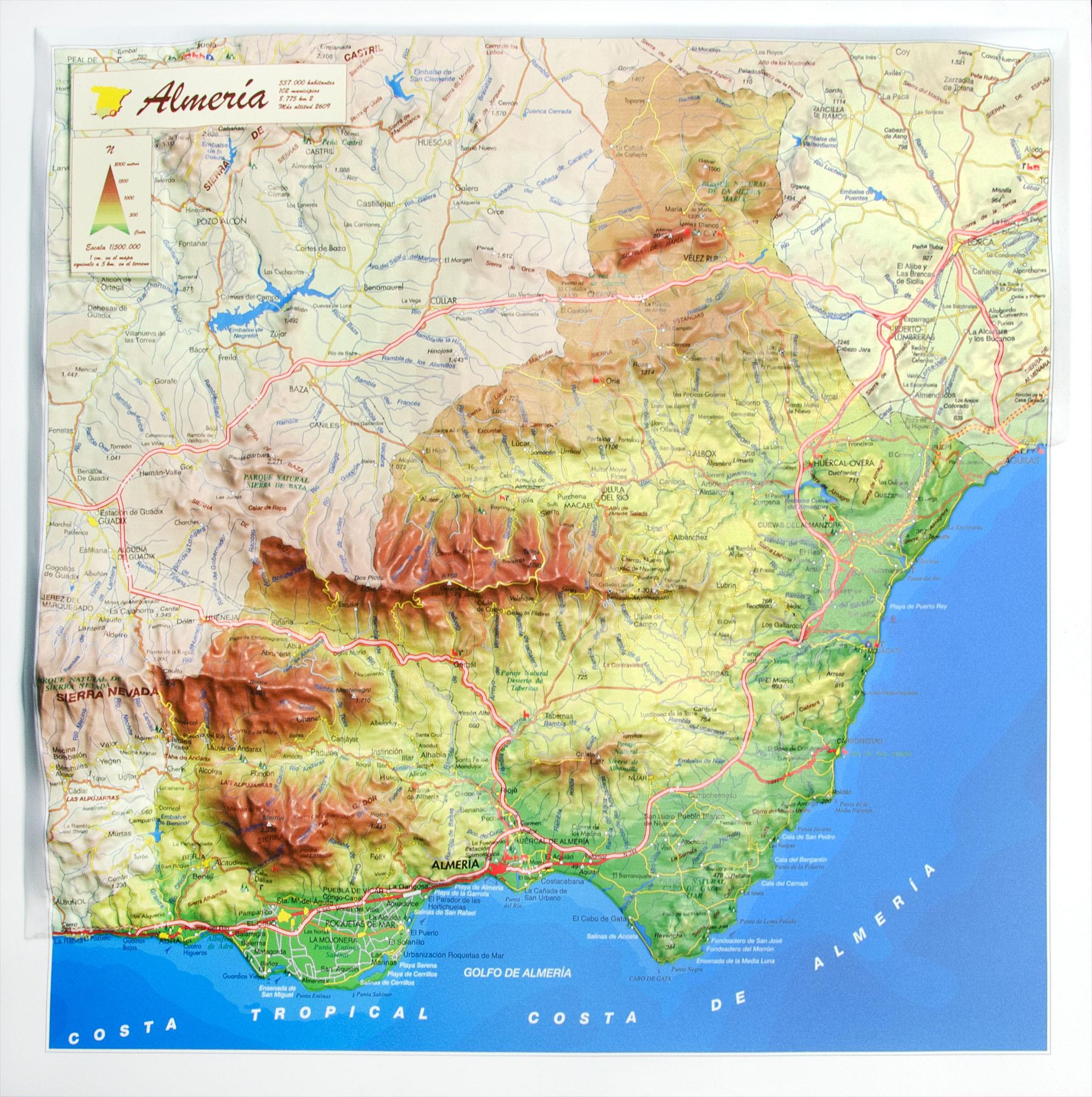 Provincia De Almeria En Relieve