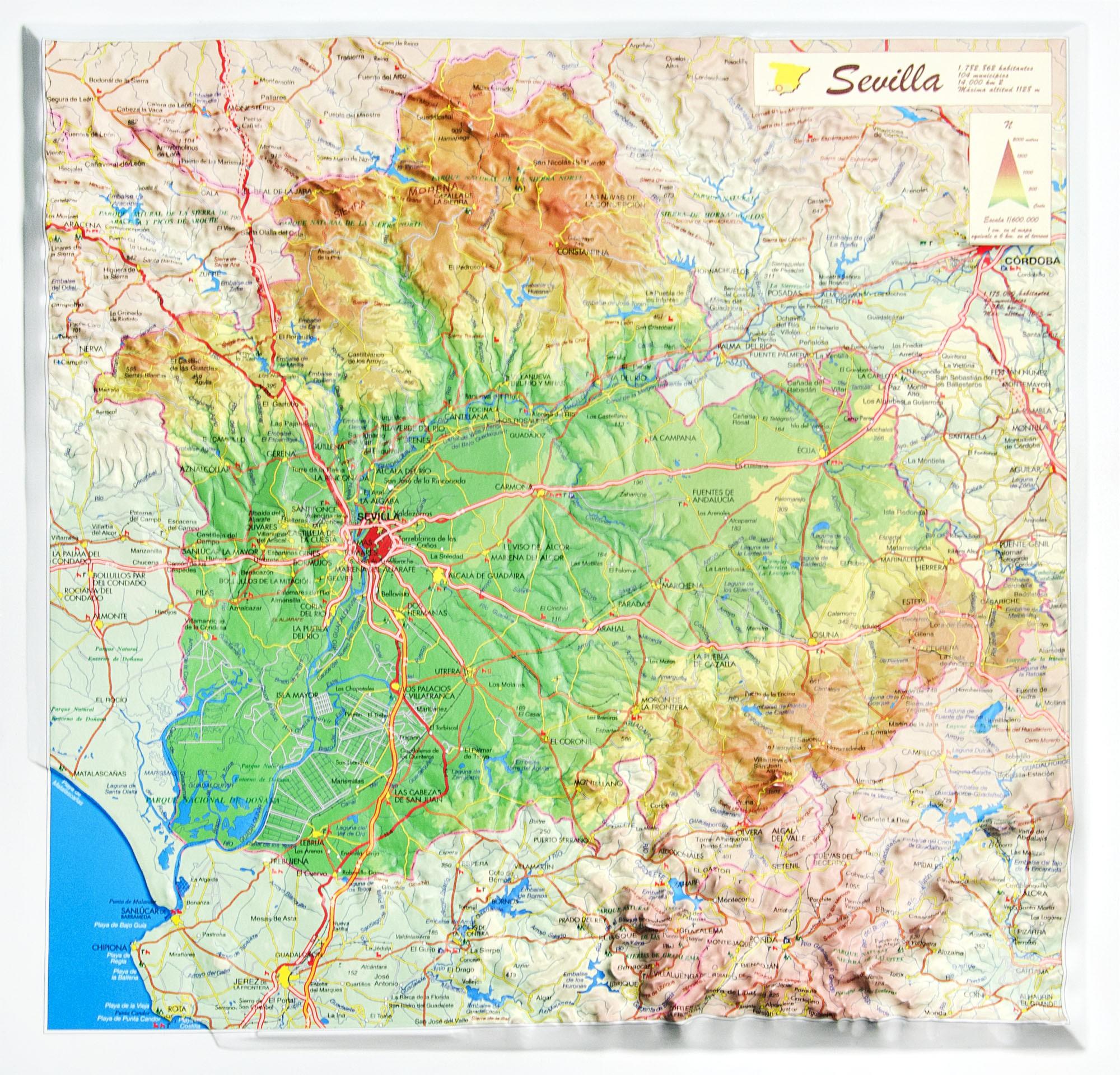 Provincia De Sevilla Mapa.Provincia De Sevilla En Relieve