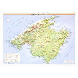 Isla de Mallorca en relieve.