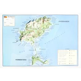 Islas de Ibiza y Formentera en relieve.