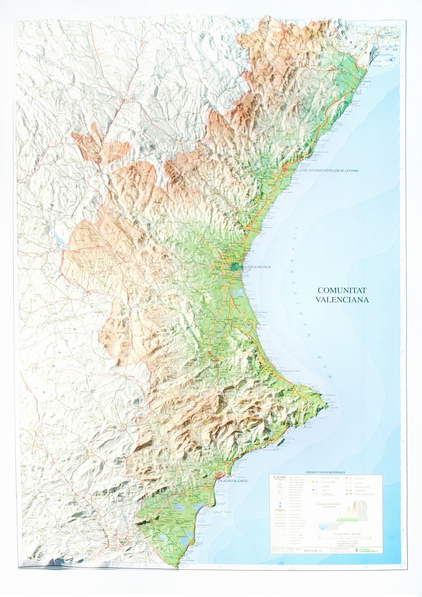 Mapa Fisico Comunitat Valenciana.C A De Valencia En Relieve