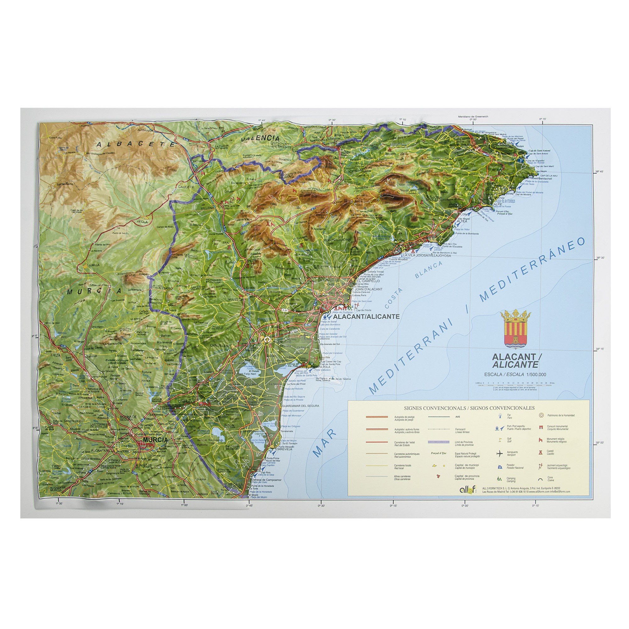 Mapa Carreteras Provincia Alicante.Provincia De Alicante Alacant